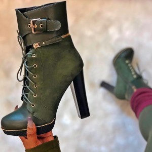 Dark Green Suede Lace Up Boots Platform Chunky Heel Ankle Boots