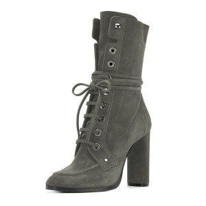 Dark Grey Buckle Chunky Heel Boots Suede Lace Up Square Toe Booties