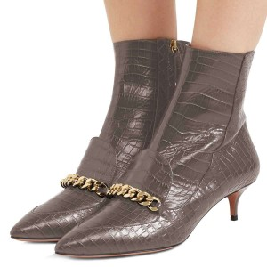 Dark Grey Kitten Heel Boots Pointy Toe Chains Ankle Booties