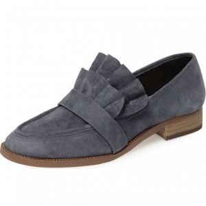 Dark Grey Suede Frill Flats Round Toe Loafers for Women