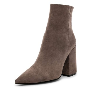 Dark Grey Suede Pointy Toe Block Heel Ankle Booties