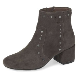 Dark Grey Suede Studs Block Heel Ankle Booties