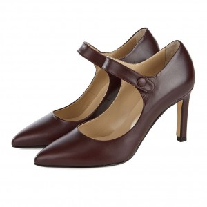 Dark Maroon Pointy Toe Mary Jane Pumps Vintage Style Office Shoes