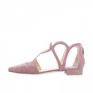 Dark Pink Hollow out Chunky Heels Pointy Toe Suede Shoes