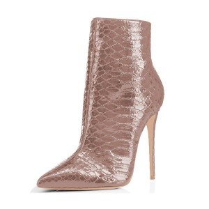 Dark Pink Stiletto Heeled Boots Snake Leather Pointy Toe Ankle Boots