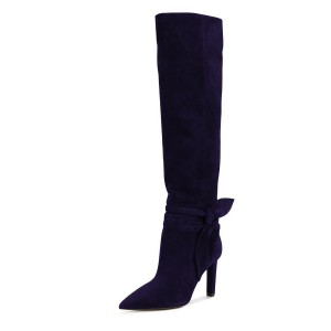Dark Purple Suede Bow Detailed Calf Length Fall Boots