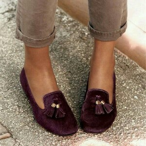 Dark Purple Velvet Tassel Loafers for Women