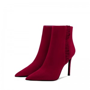 Dark Red Fashion Boots Stiletto Heel Ankle Boots with Ruffle