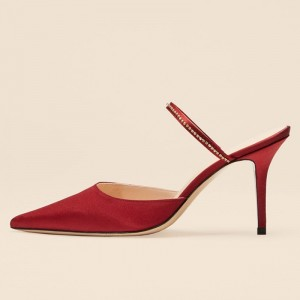 Dark Red Satin Mule Heels with Pointy Toe