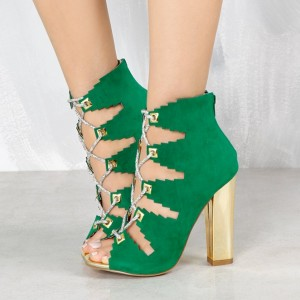 Deep Green Lace Up Summer Boots Suede Peep Toe Chunky Heels Sandals