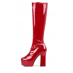 Red Patent Leather Platform Fashion Boots Chunky Heel Knee High Boots