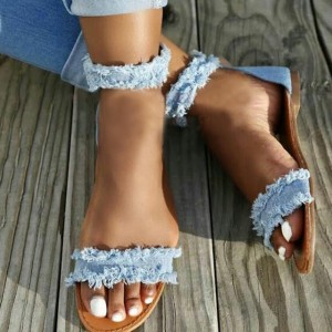 Blue Denim Flat Ankle Strap Sandals Frayed Jean Beach Sandals