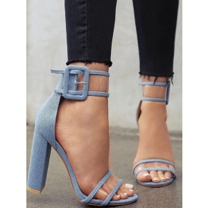 Denim Block Heels Clear Sandals Open Toe Ankle Strap Sandals