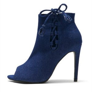 Denim Boots Peep Toe Stiletto Heels Lace Up Ankle Booties