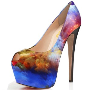 Colorful Astral Pumps 5 Inch Platform High Heels