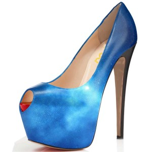 FSJ Blue Galaxy Platform Heels Peep Toe Stiletto Heel Pumps Size 3-15