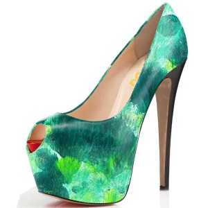 Green Pumps Floral-print 5 Inch Platform High Heels