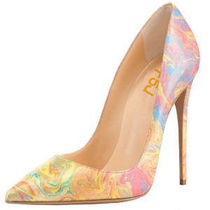 Women's Abstract Art Printed Dress Shoes Floral Stiletto Heels Pumps