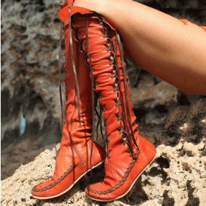 Women's Orange Lace-up Strappy Flats Comfortable Vintage Boots