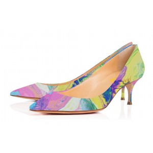 Orchid Low-cut Abstract Painting Pointed Toe Kitten Heel Pumps