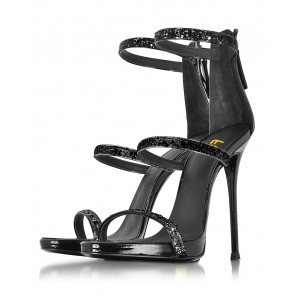 Women's Leila Black Glitter Stiletto Heel Gladiator Sandals