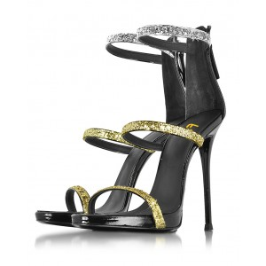 Women's Golden and Silver Glitter Stiletto Heel Gladiator Sandals