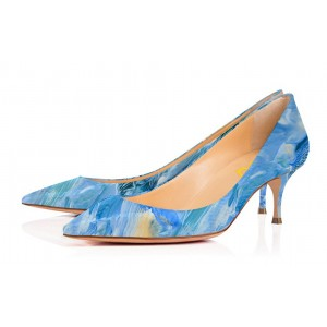Blue Kitten Heels Landscape Print Pointy Toe Pumps
