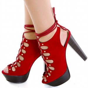 Red Lace up Sandals Suede Slingback Chunky Heels Platform Sandals