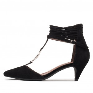 Black Suede T Strap Pumps Ankle Strap Kitten Heel Pumps