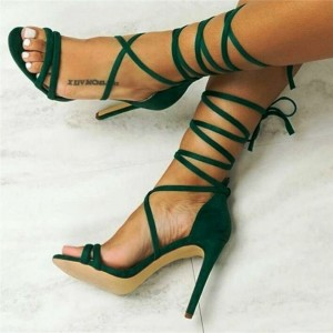 Olive Green Strappy Sandals Stiletto Heels Open Toe Sexy Sandals