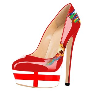 England Design Stiletto Heels Red Sexy Platform Pumps for Soccer Fans