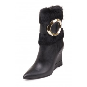 Black Wedges Winter Boots Gold Hardware Pointy Toe Fashion Fur Boots