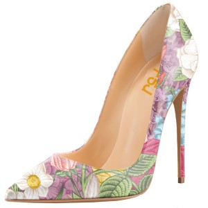 Women's Floral Heels Spring Pointy Toe Stiletto Heels Pumps by FSJ