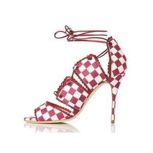 Women's Red Ankle Strap Sandals Open Toe Strapy Hollow out Stiletto Heels