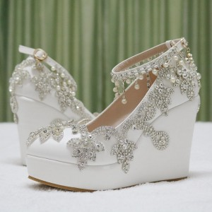 Women's White  Rhinestone Wedding Shoes  Almond Toe Wedge Heels