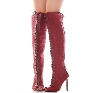 Fashion Amaranth Lace up Boots Peep Toe Lace Boots Loose Shoes