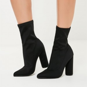 Black Lycra Sock Boots Cylindrical Heel Fashion Ankle Booties