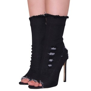 Fashion Black Denim Boots Peep Toe Stiletto Heel Mid Calf Boots