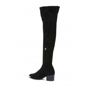 Fashion Black Long Boots Suede Over The Knee Chunky Heels Zip Shoes