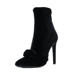 FSJ Black Velvet Boots Pointy Toe Stiletto Heel Bow Ankle Booties