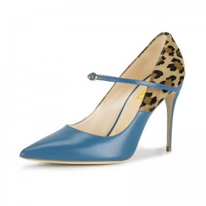 Fashion Blue 3 Inch Heels Suede Buckle Stiletto Heel Pumps