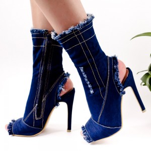 Fashion Blue Denim Boots Peep Toe Slingback Ankle Boots For Women