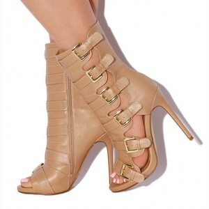 Fashion Brown Buckle Strappy Heels Peep Toe Stiletto Retro Sandals