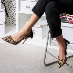 Fashion Brown Stiletto Heels Pointy Toe Leopard Print Tassels Pumps