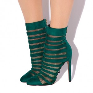 Fashion Dark Green Strappy Sandals Peep Toe Stiletto Suede Mesh Boots
