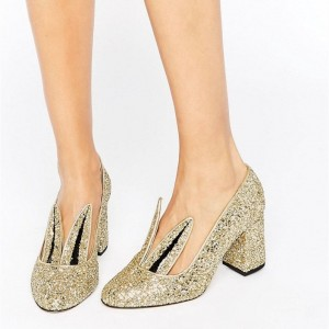 Fashion Gold Rabbit Glitter Shoes Chunky Heels Lovely Pumps