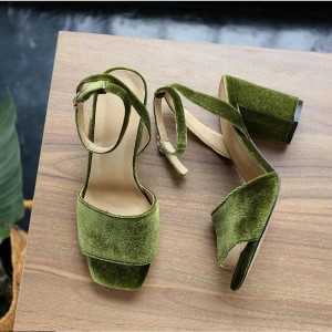 Fashion Green Open Toe Chunky Heels Ankle Strap Sandals
