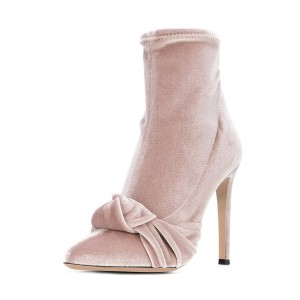 FSJ Blush Velvet Boots Pointy Toe Stiletto Heel Bow Ankle Booties