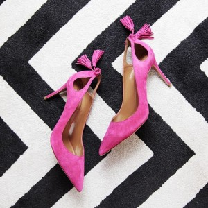 Fashion Magenta Red Stiletto Heels Pointy Toe Suede Tassels Pumps