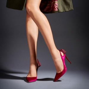 Fashion Magenta Stiletto Heels Pointy Toe Shoes Velvet Tassels Pumps